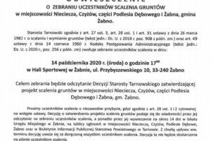 Obwieszczenie Starosty  Tarnowskiego  z 11.09.2020 r. o zebraniu uczestników scalenia gruntów w miejscowości Nieciecza, Czyżów, cześć Podlesia Dębowego i Żabna, które odbędzie się 14 października 2020 r. w sprawie odczytania decyzji Starosty Tarnowskiego