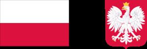 flaga, godło Polski, pas logotypów