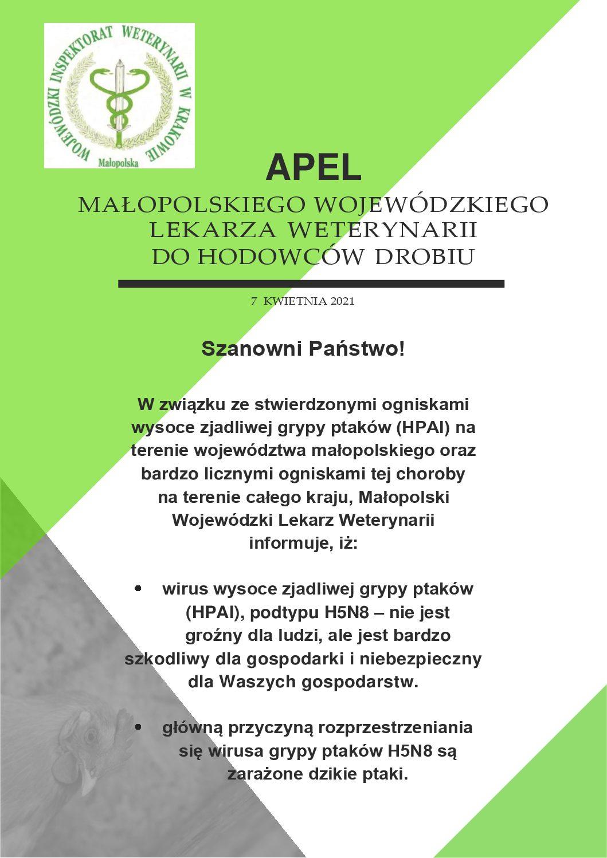 Apel Małopolskiego Wojewódzkiego Lekarza Weterynarii