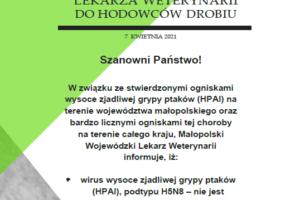 Apel Małopolskiego Wojewódzkiego Lekarza Weterynarii do Hodowców Drobiu