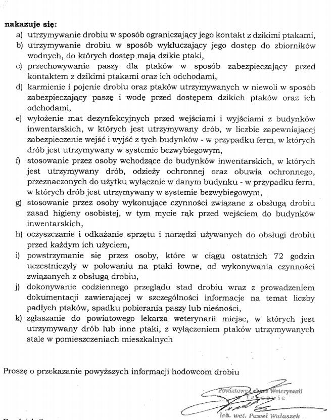 Pismo Powiatowego Lekarza Weterynarii informujące o stwierdzeniu ognisk wysoce zjadliwej grypy ptaków