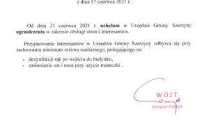 Ogłoszenie Wójta Gminy Szerzyny w zakresie obsługi stron i interesantów
