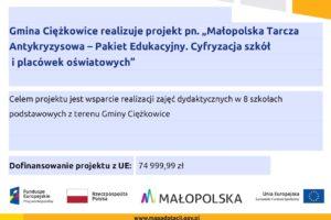 """Ogłoszenia: Projekt """"Małopolska Tarcza Antykryzysowa – Pakiet edukacyjny. Cyfryzacja szkół i placówek oświatowych"""""""