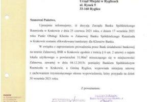 Bank Spółdzielczy Rzemiosła w Krakowie likwiduje placówkę