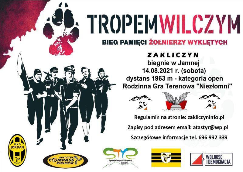 """IX edycja Biegu Pamięci Żołnierzy Wyklętych """"Tropem Wilczym"""", plakat"""