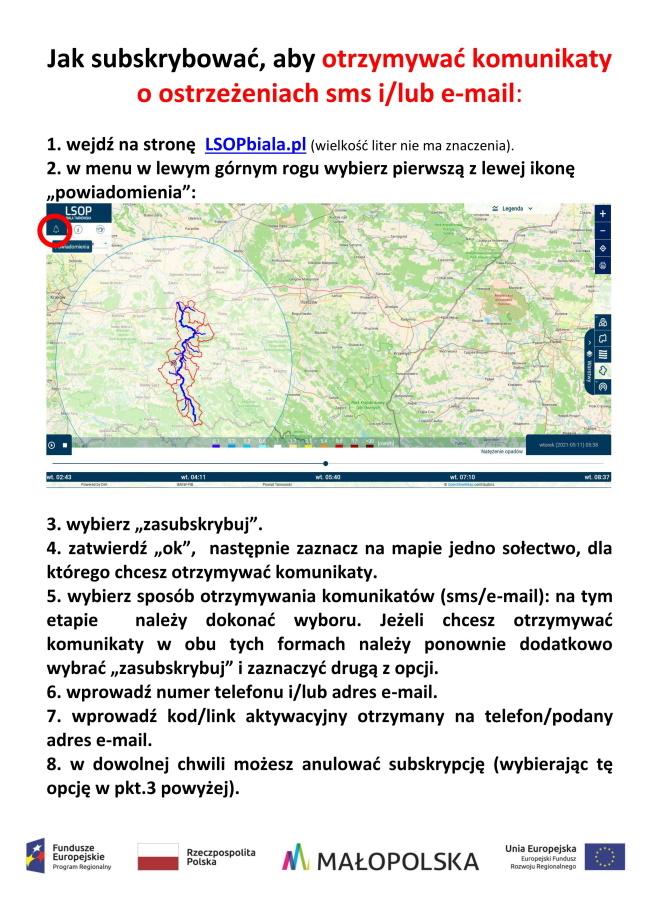 Instrukcja włączenia subskrypcji z mapa regionu