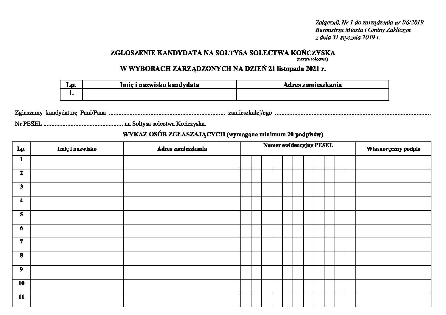 Ogłoszenie wyborów uzupełniających Sołtysa Kończysk
