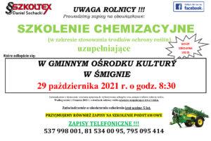 UWAGA ROLNICY !!! Zapisy na obowiązkowe: SZKOLENIE CHEMIZACYJNE