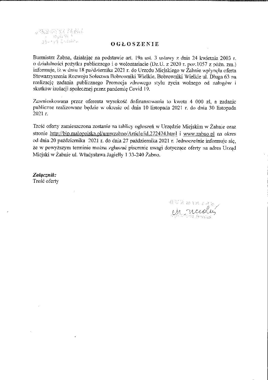 Oferta Stowarzyszenia Rozwoju Sołectwa Bobrowniki Wielkie