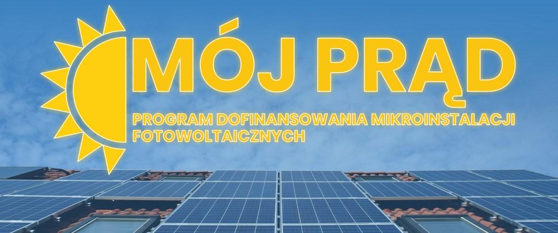 """baner z napisem """"Mój Prąd"""""""